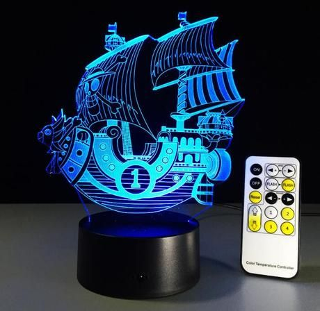 One Piece Thousand Sunny Color Changing 3d Illusion Acrylic Lamp Anime Lamps Color Changing Lamp 3d Illusions Lamp