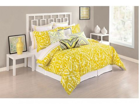 Bedroom:Yellow Master Bedroom Decorations for Charming Look Impressive Yellow Bedroom Decorations And Gray Ikat Bedding Sets Plus White Asian Style Bed Frame