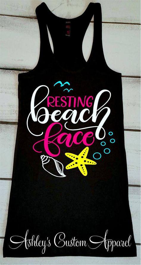 Beach Shirts Resting Beach Face Summer Vacation Tank Tops Funny