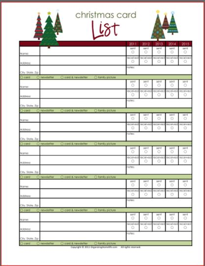 Christmas Planner ~ Newsletter Christmas Planner ~ Cards Christmas - printable christmas list template
