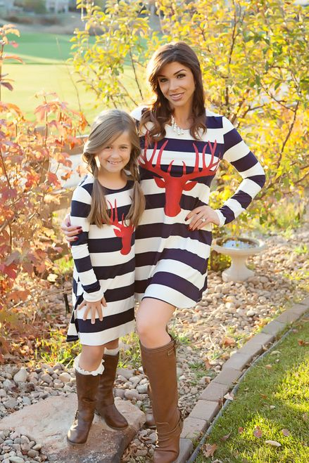 mommy and me reindeer tunic dress navy striped - ryleigh rue