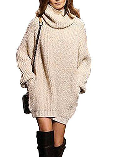 Womens Off Shoulder Knit Sweater Dress Ladies Casual Winter Long Jumper Pullover