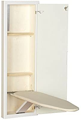 Amazon Com Household Essentials 18100 1 Stowaway In Wall Ironing Board Cabinet With Built In 2020 Wall Ironing Board Ironing Board Cabinet Wall Mounted Ironing Board