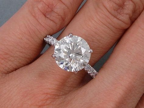 4.54 ctw Round Cut Diamond Ring H Color SI3 Clarity Enhanced Diamond Ring 7bf2f6fa6