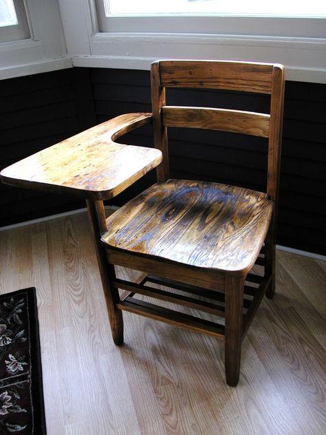 Antique-Vintage 1940's Oak School Desk-Chair