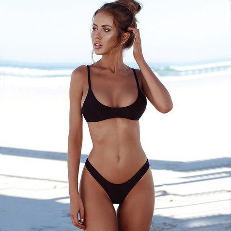 Kmnovo New Solid Thong Bikini Sexy Swimwear Women Plus Size Swimsuit Halter Bikini Set Simple Large Bathing Suit Biquini XXL - TakoFashion - Women's Clothing & Fashion online shop
