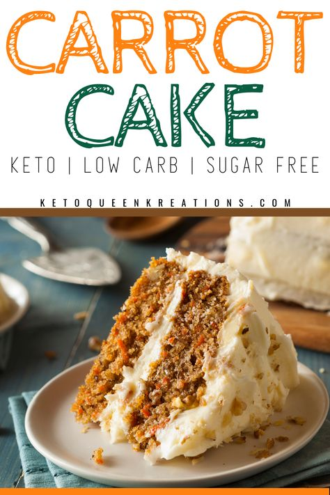 Low Sugar Cakes, Sugar Free Carrot Cake, Sugar Free Deserts, Low Sugar Desserts, Sugar Free Treats, Sugar Free Recipes, Baking Recipes, Sugar Free Pastries, Diabetic Desserts Sugar Free Low Carb