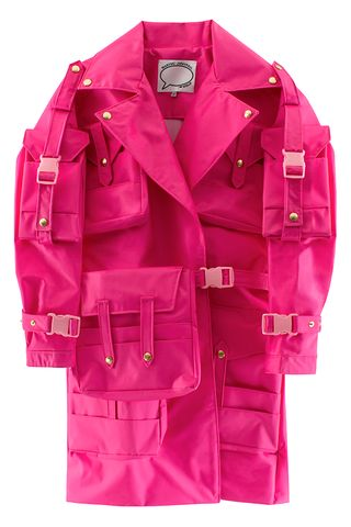 Love the bright pink trench coat style jacket with all the cargo style pockets