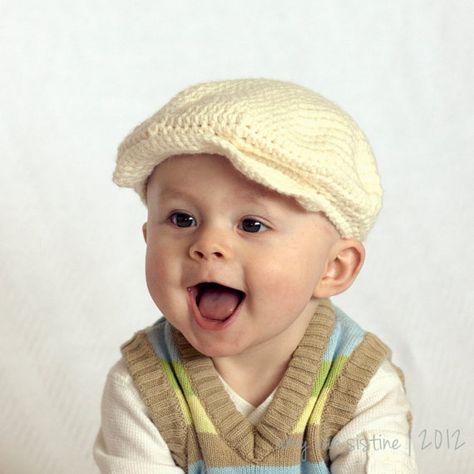 Happy Boy Newsboy Brim Crochet Baby hat sizes newborn by SillySeaTurtle d3900ad68001