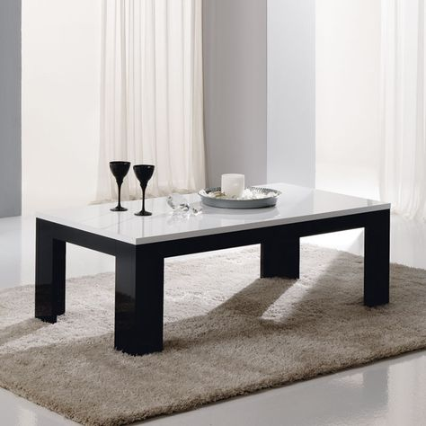Table Basse Noir Laque Design Siera Bois Table Salon