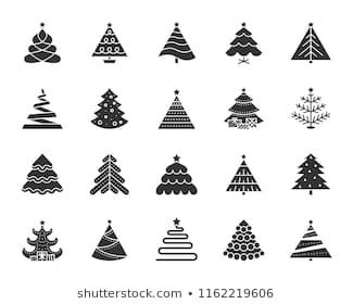 Christmas Tree Icons Set Sign Kit Of Xmas Trendy Spruce Stylized Pictogram Collection Includes Garland Glit Tree Icon Christmas Vectors Simple Christmas Tree