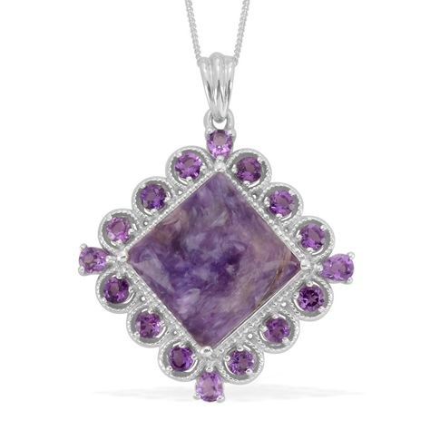 Liquidation Channel: Siberian Charoite and Amethyst Pendant with Chain (20 in) in Platinum Overlay Sterling Silver (Nickel Free)