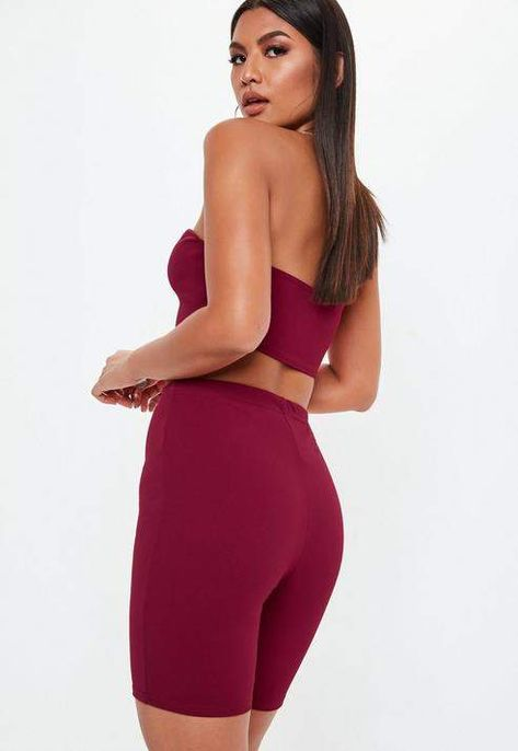 7faf0d3e00f94 Missguided Burgundy Cycling Short Co Ord