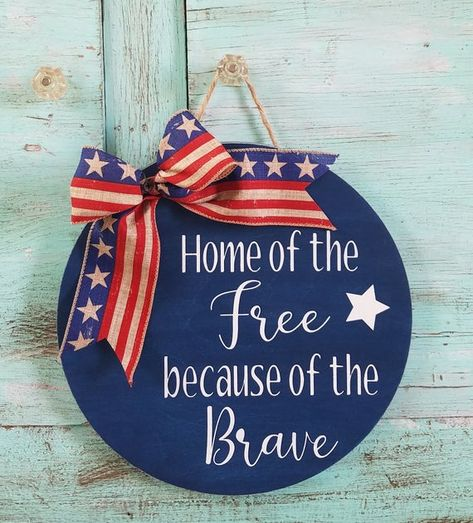 Patriotic Welcome Sign round home of the free sign sign farmhouse welcome of july sign patriotic door decor memorial day sign