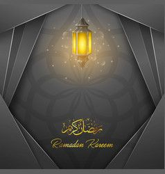Ramadan Kareem Greeting Card Template With Lantern Vector Ramadan Kareem Ramadan Ramadan Background