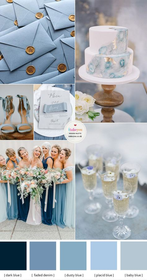 Today& wedding colour palette is one of the most popular spring wedding colours. For those brides who love something blue - blue shades especially the dusty blue color which has been the top wedding colour for the several years. Blue Wedding Colour Theme, Wedding Color Schemes, Winter Wedding Colors, Winter Colors, Fall Wedding Colors, Aqua Wedding Themes, Colour Themes For Weddings, Spring Wedding Themes, Wedding Colour Palettes