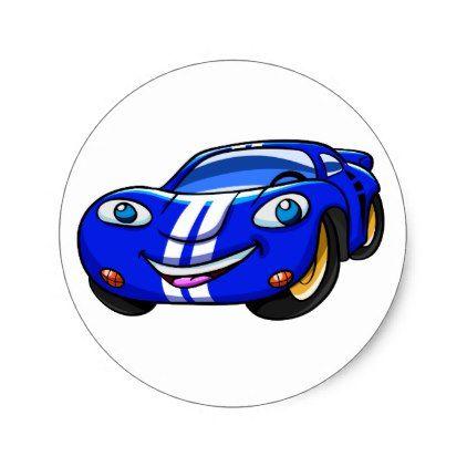 Supercar Blue Car Car Racing Classic Round Sticker Zazzle