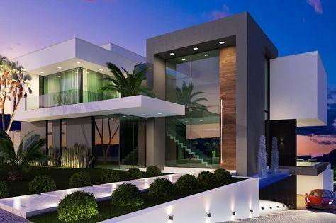 Projeto: Casas modernas por Gramaglia Arquitetura #fachadasmodernasresidenciais Casas modernas Fachadas de casas modernas Casas