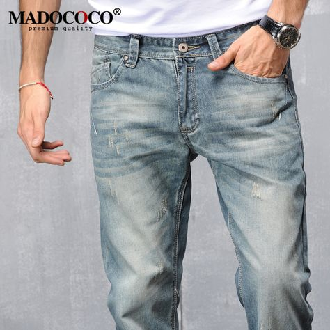 2016 New Men's clothing Retro Siamese Pants Mens denim