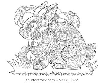 Rabbit Bunny Coloring Book For Adults Vector Illustration Anti Stress Coloring For Adult T Steampunk Coloring Coloring Books Mandala Coloring Pages