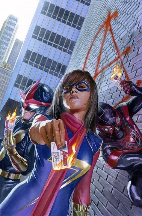 Ms. Marvel, Nova and Ultimate Spider-Man by Alex Ross *