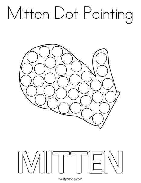 Mitten Dot Painting Coloring Page Twisty Noodle Kids Calendar