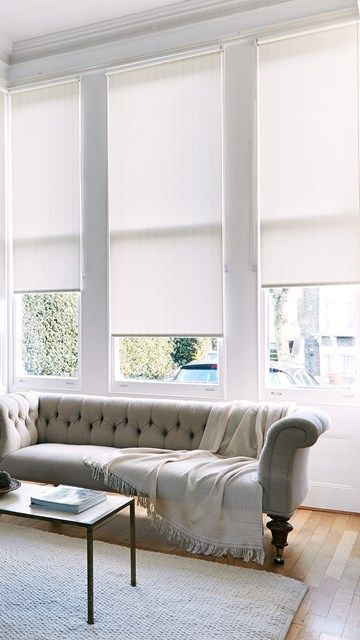 Roller Blinds Like This But White Light Grey Roller Blinds In Library Living Room Blinds Blinds Living Room Window Treatments Bedroom