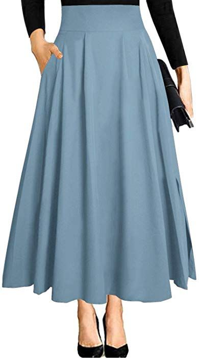 Ranphee Midi Skirt for Women Summer High Waisted A-line Flared Skirt with Pockets