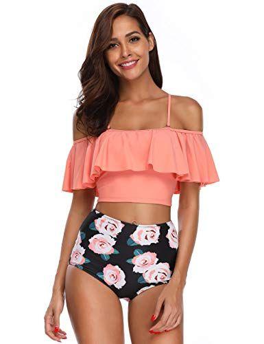 MARINAVIDA Women Off Shoulder Ruffle Swimsuit Crop Top Two Piece Bathing Suit Slim Version