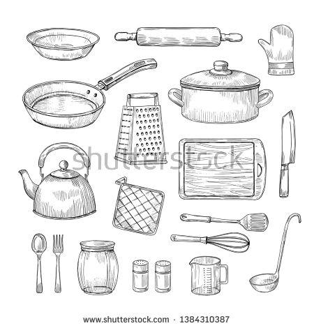Stock Vector Sketch Kitchen Tools Cooking Utensils Hand Drawn