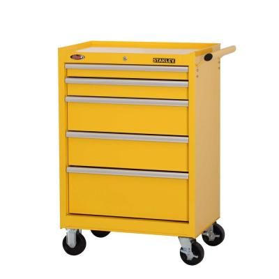 Stanley 27 In W 5 Drawer Tool Cabinet Yellow H5trsy The Home Depot Tool Cabinet Mechanic Tool Box Drawers