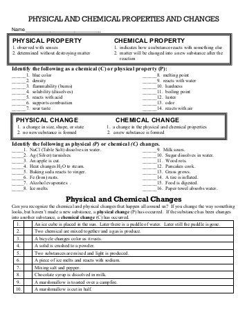 Physical And Chemical Properties And Changes Worksheet 2