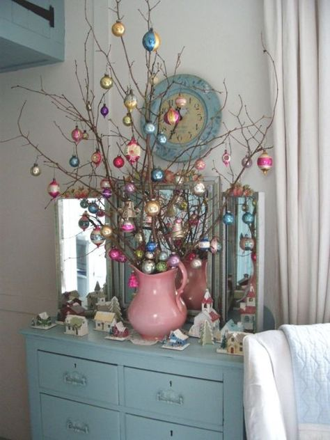 Blue (and pink) Christmas - love the idea of using a vintage water pitcher! Noel Christmas, Winter Christmas, Christmas Ornaments, Christmas Branches, Christmas Colors, Christmas Vignette, Christmas Mantles, Christmas Lanterns, Christmas Villages