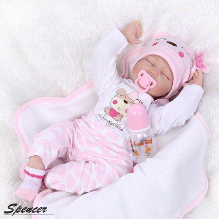 Handmade Reborn Newborn Dolls 22inch Vinyl Silicone Baby Girl Doll Xmas Gifts