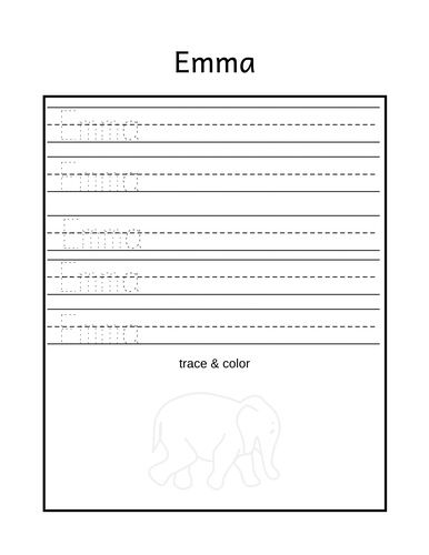 Emma Name Trace In 2020 Name Tracing Worksheets Name Tracing Tracing Worksheets