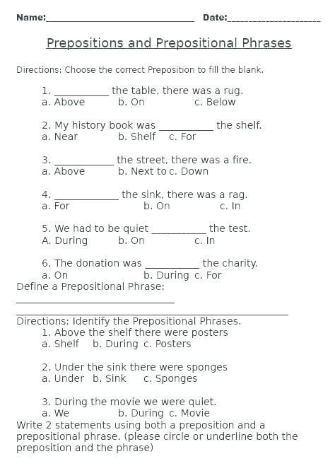 Preposition Worksheets Middle School Prepositional Phrases Worksheets Download Downl Middle School Math Worksheets Preposition Worksheets Prepositional Phrases Prepositional phrases worksheet 6th grade