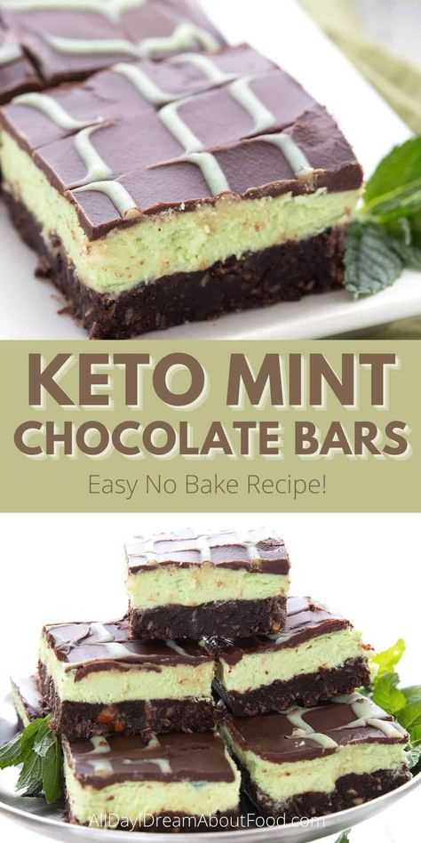 These keto mint chocolate bars are a delicious sugar free dessert recipe. They're easy to make, with a no bake chocolate crust, a creamy, minty green filling, and a rich chocolate glaze.
