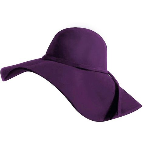 24a996d6 Elegant Purple Wool Wide Brim Diva Style Floppy Hat ($28) ❤ liked on Polyvore  featuring accessories, hats, floppy, purple, floppy brim hat, woolen hat,  ...