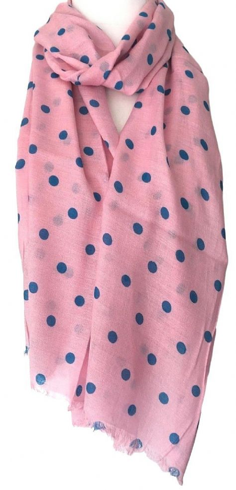 ladies polka dot scarf summer spotty scarf blue polka dot scarf