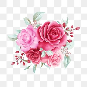 Watercolor Flowers Bouquet Of Red Roses And Wild Leaves Element For Wedding Or Greeting Card Watercolor Clipart Flower White Png Transparent Clipart Image An Cat Air Bunga Menggambar Bunga Buket Bunga