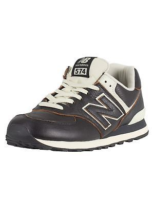 mens new balance dark brown 574 leather trainers
