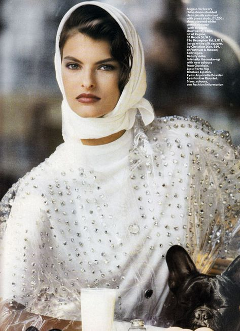 "the-original-supermodels: "" Star Raincoats - Vogue UK Linda Evangelista by Peter Lindbergh """
