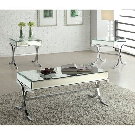 Home Mirrored Coffee Tables 3 Piece Coffee Table Set Acme