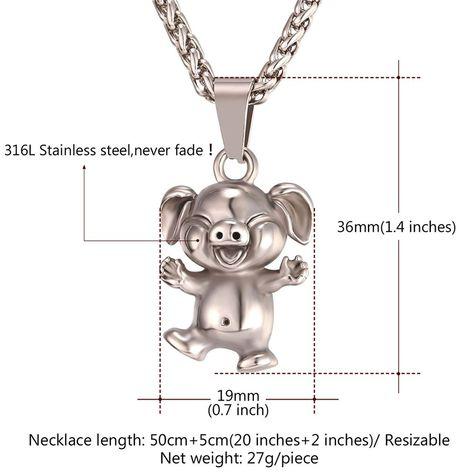Kiola Designs Silver Toned Large Dancing Pig Pendant Necklace