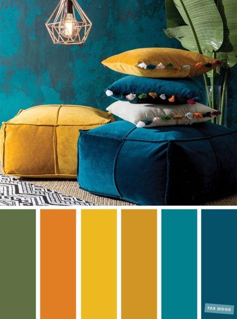 welche farbe passt zu petrol, farbkombis, gelb, grün, braun, türkis ideen, lampe