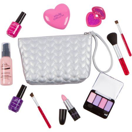Pixiecrush Pretend Play Makeup Kit Designer Girls Hearts Essential Bag Set Walmart Com Makeup Kit For Kids Play Makeup Makeup Kit
