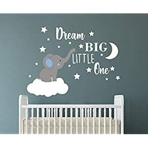 Dream Big Little One Elephant Wall Decal Quote Wall Stickers Baby Room Wall Decor Vinyl Wall Decals For Children Baby Kids Boy Girl Bedroom Nursery Decor Y42 In 2020 Baby Room Wall