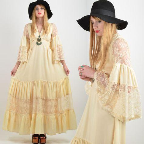 Vtg 70s Cream GUNNE SAX Boho WEDDING Hippie MAXI DRESS Sheer Lace ANGEL SLV Gown