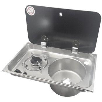 Can Fl1765us 2 Burner Campervan Propane Cooktop W Sink Single Burner Cooktop Camper Stove
