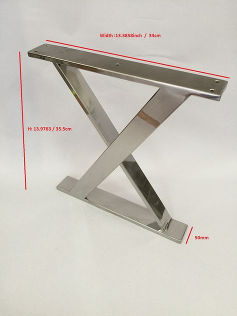 14inch X Frame stainless steel bench base, ottoman base, seat base, side table base, coffee table base